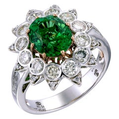 Zorab Creation Nature's Gift 3.16 Carat Dark Hued Tsavorite Ring