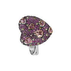 Zorab Creation Pink Tourmaline, Pink Sapphire and Yellow Diamond Amore Ring