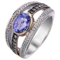 Zorab Creation Tanzanite and Diamond Streamline Beauty Ring