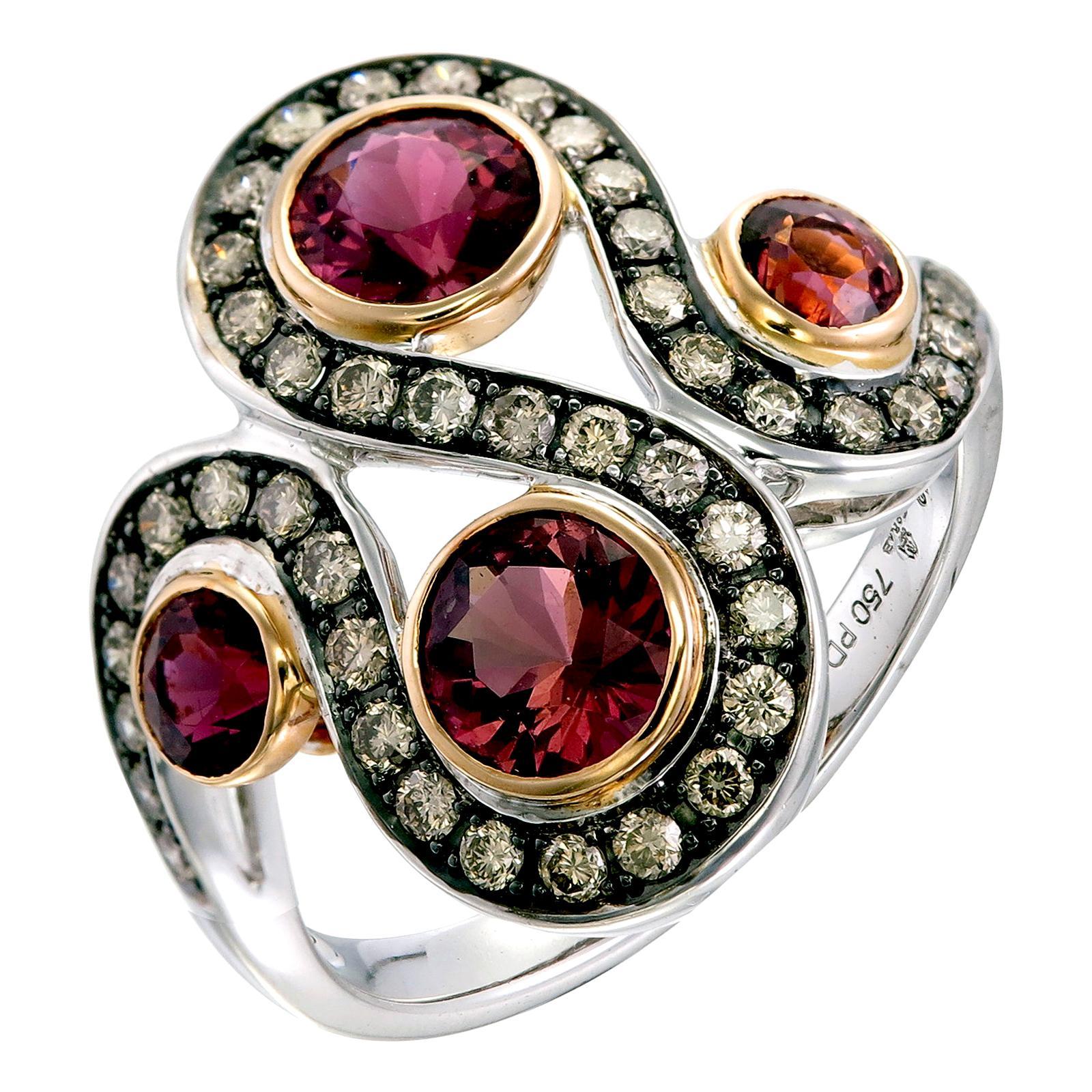 Zorab Creation The Serpent Pink Tourmaline and Diamond Ring