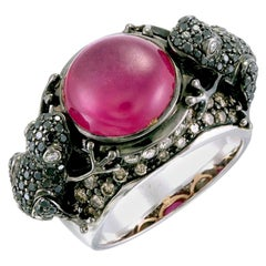 Zorab Creation Twin Frogs Designer Ring in Ruby, White, Black and Brown Diamonds