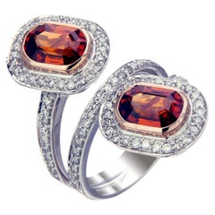 Zorab Creation Twin Infernos 4.57 Carat Spessartite Garnet Ring