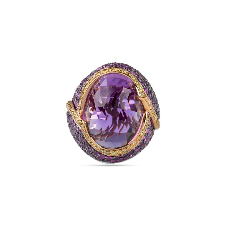Zorab Creation 20.63 Faceted Amethyst Lion-Heart Ring In New Condition For Sale In San Diego, CA