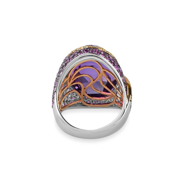 Women's Zorab Creation 20.63 Faceted Amethyst Lion-Heart Ring For Sale