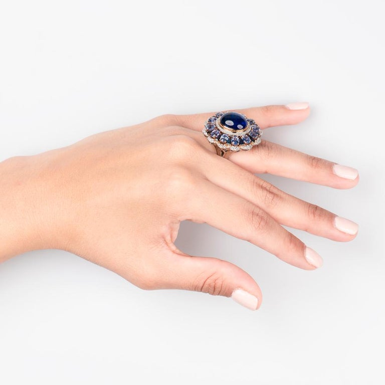 Art Nouveau Zorab Creations Tanzanite 9.27 Carat and Sapphire 7.62 Carat Wreath Ring For Sale