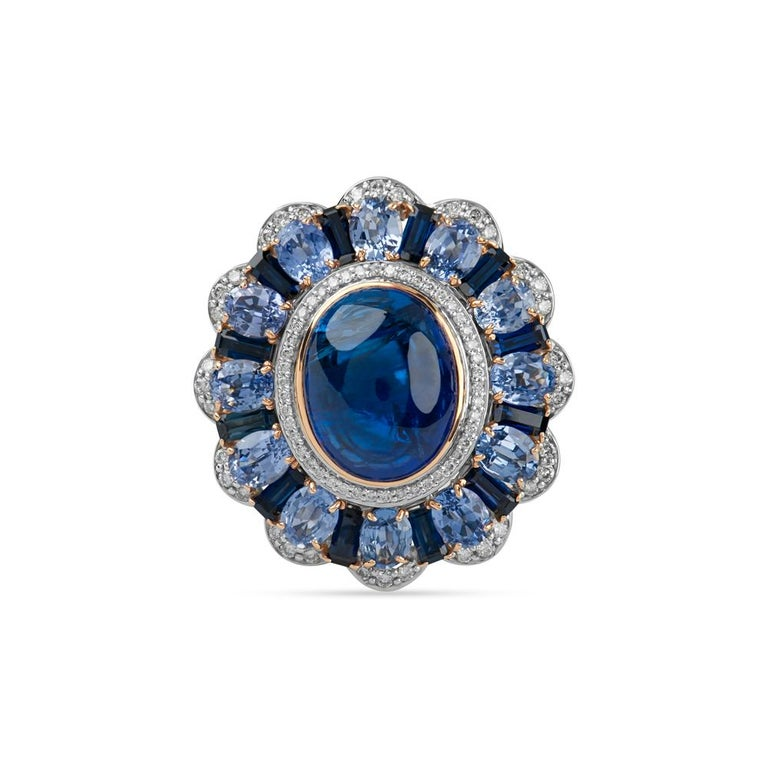 Zorab Creations Tanzanite 9.27 Carat and Sapphire 7.62 Carat Wreath Ring In New Condition For Sale In San Diego, CA