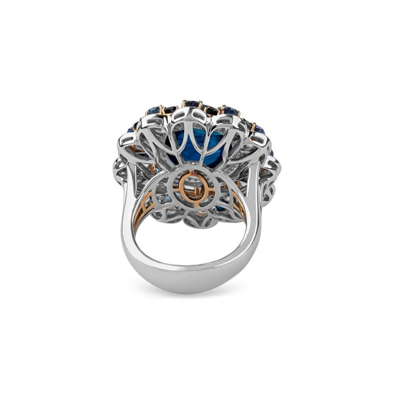 Women's Zorab Creations Tanzanite 9.27 Carat and Sapphire 7.62 Carat Wreath Ring For Sale