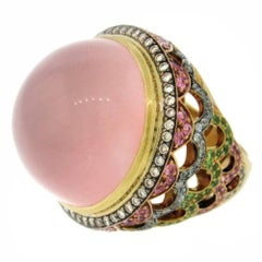 Zorab Large Rose Quartz Cabochon, Diamond and Multi-Gem Ring in 18 Karat Gold