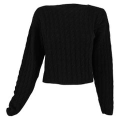Zoran Black Cashmere and Silk Cropped Cable Knit Sweater