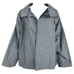 Zoran Charcoal Grey Cord Stripe with Sequins Swing Jacket