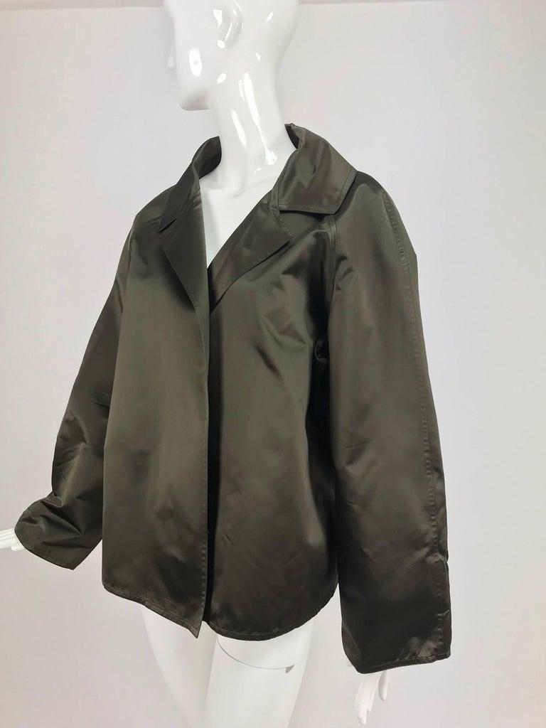 Black Zoran Dark Olive Silk Jacket  For Sale