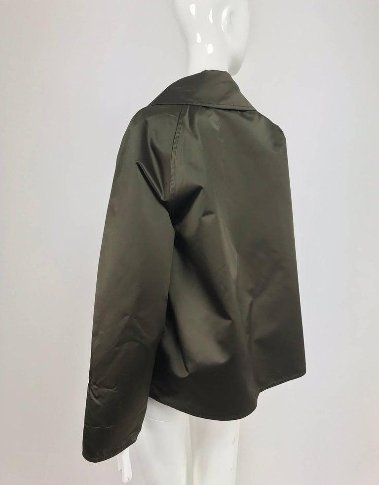 Women's Zoran Dark Olive Silk Jacket  For Sale
