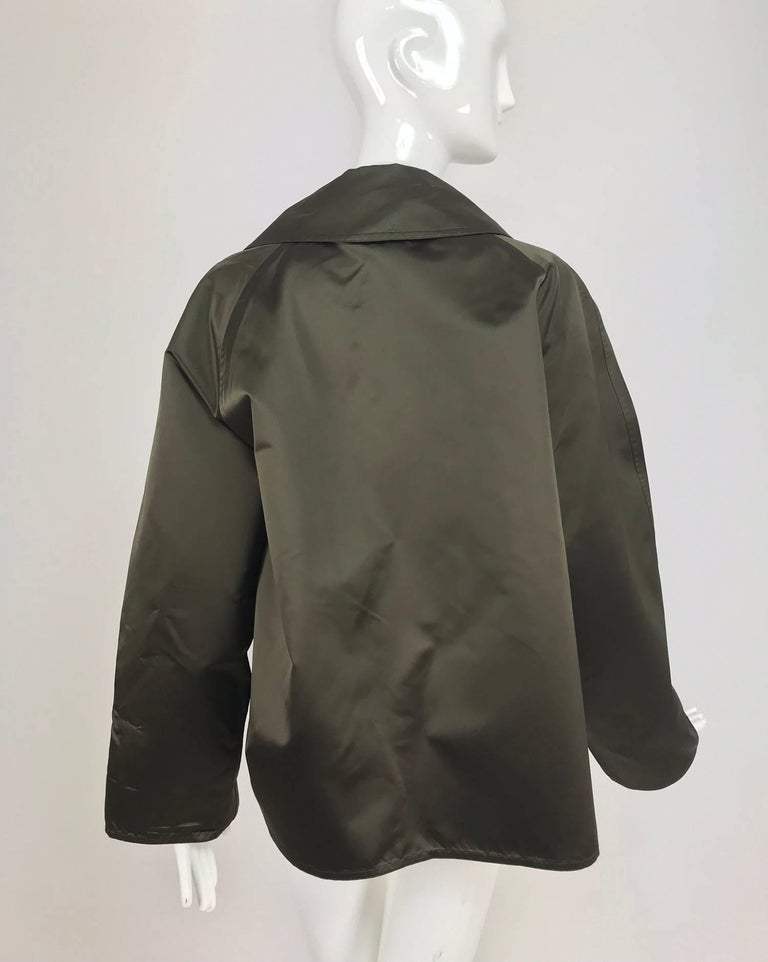 Zoran Dark Olive Silk Jacket  For Sale 1