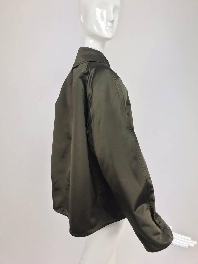 Zoran Dark Olive Silk Jacket  For Sale 2