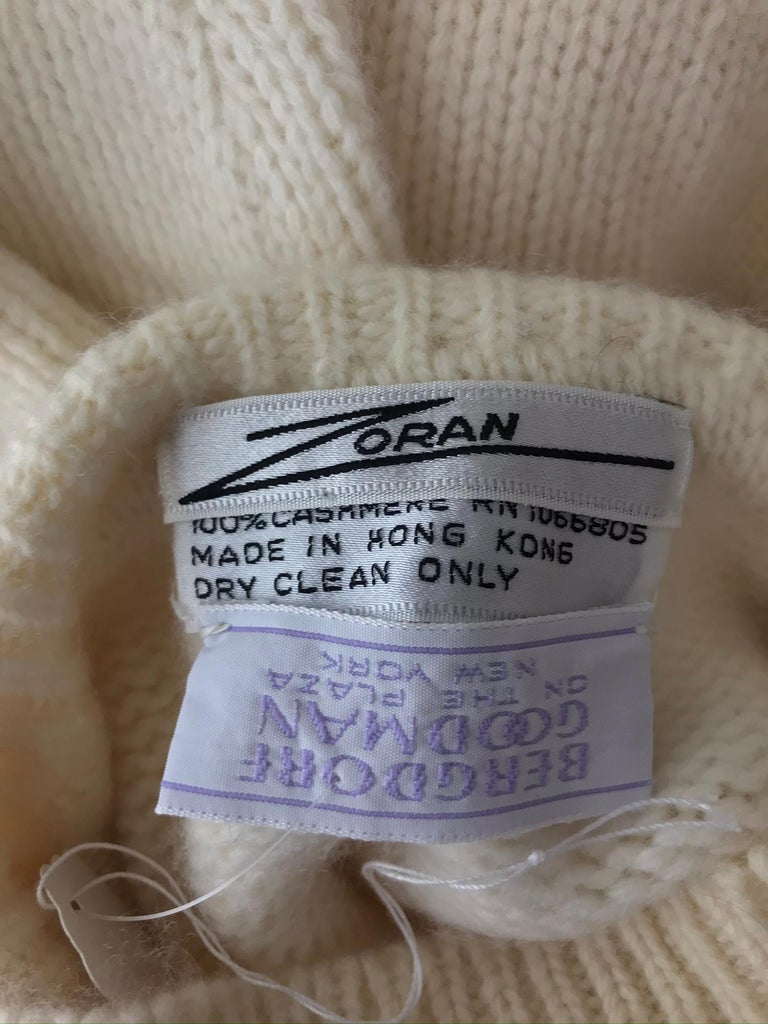 Zoran Off White Chunky Cashmere Turtleneck Sweater 1990s For Sale 7