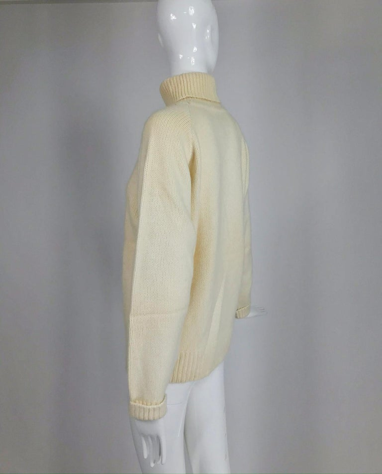 Zoran Off White Chunky Cashmere Turtleneck Sweater 1990s For Sale 1