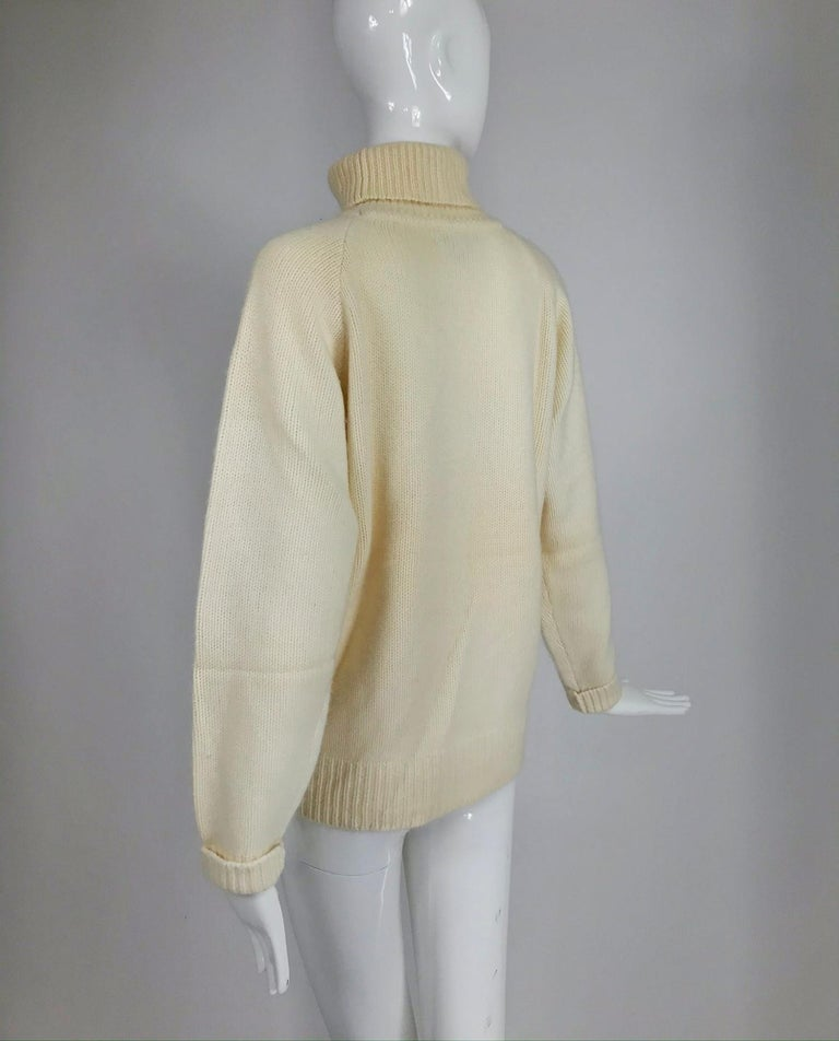 Zoran Off White Chunky Cashmere Turtleneck Sweater 1990s For Sale 2