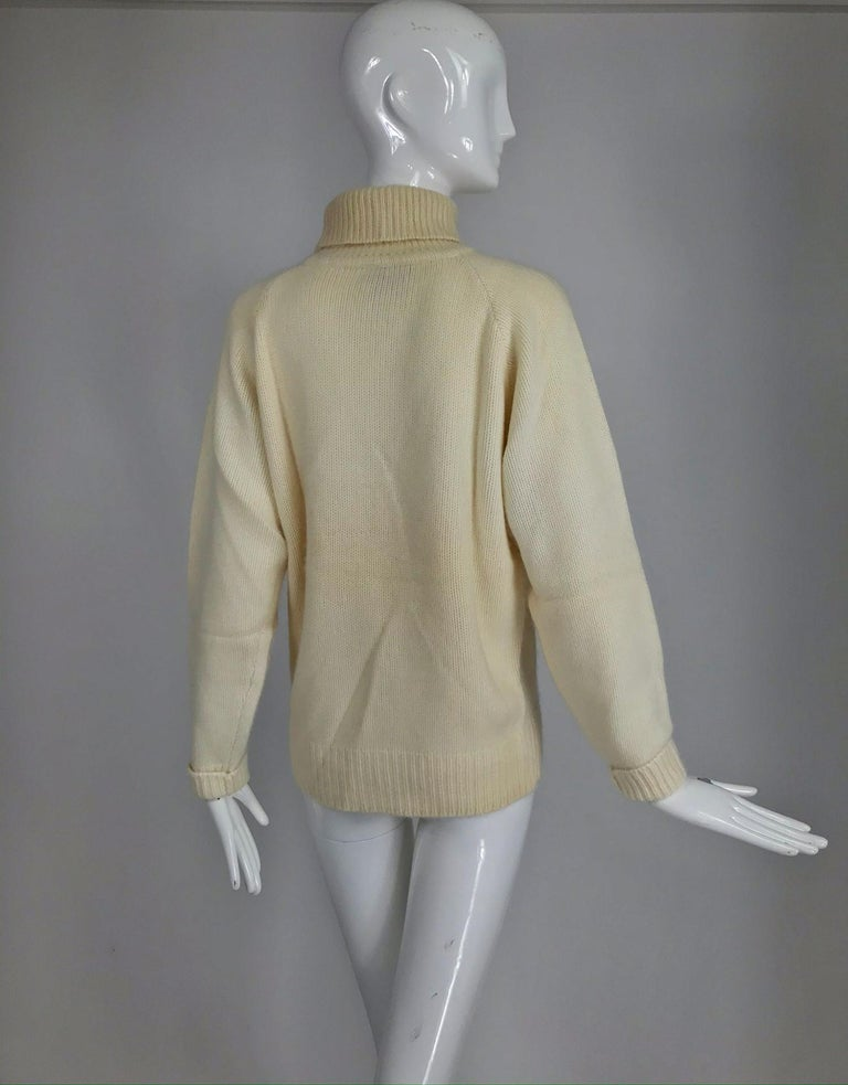 Zoran Off White Chunky Cashmere Turtleneck Sweater 1990s For Sale 3