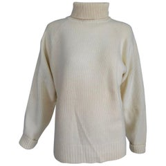 Zoran Off White Chunky Cashmere Turtleneck Sweater 1990s