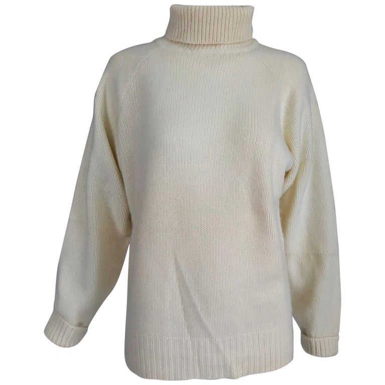 Zoran Off White Chunky Cashmere Turtleneck Sweater 1990s For Sale