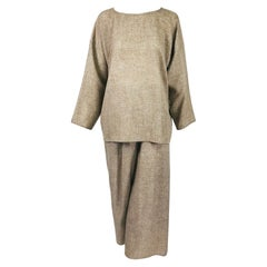 Zoran Taupe Open Weave Soft Wool Pant Set 1990s