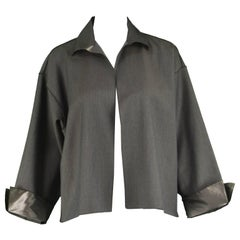 Zoran Vintage 1990s Minimalist Gray Wool & Silk Taffeta Lightweight Jacket