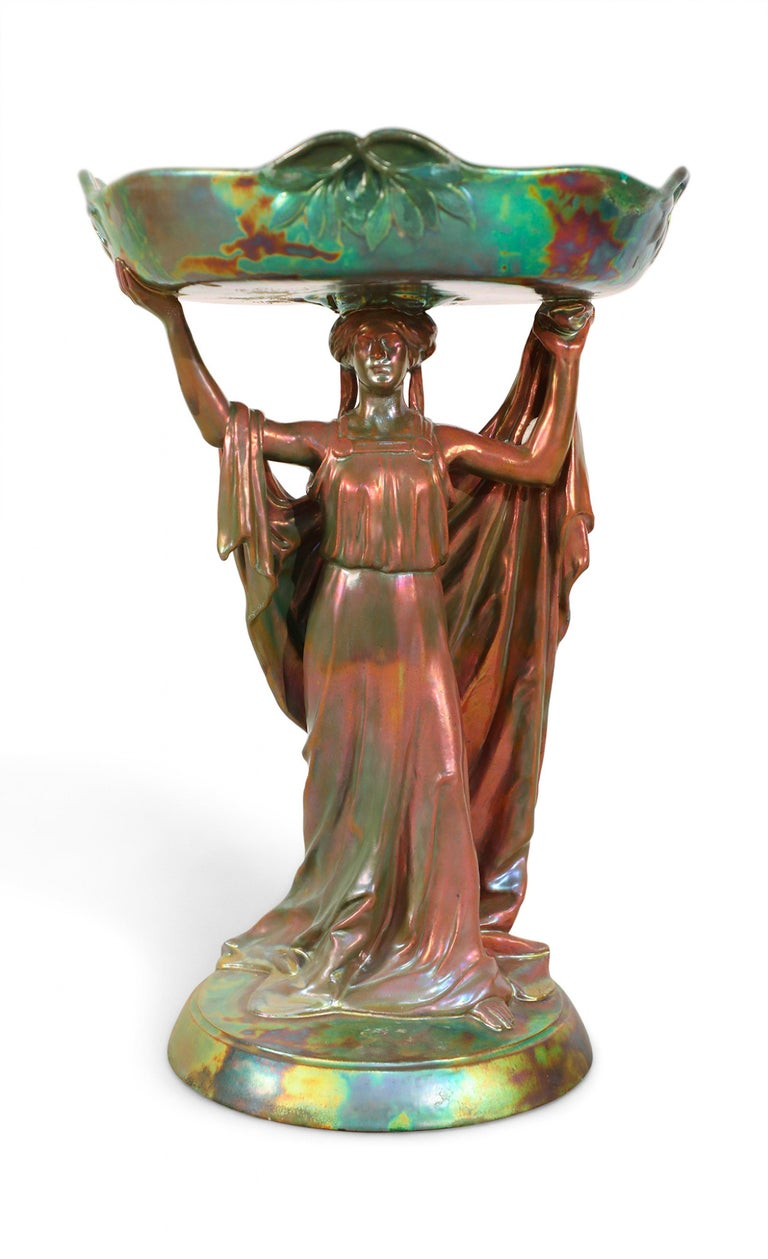 Hungarian Zsolnay Art Nouveau Figural Compote Centrepiece For Sale