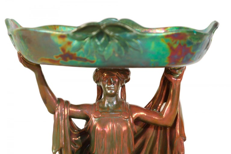 Zsolnay Art Nouveau Figural Compote Centrepiece In Good Condition For Sale In New York, NY