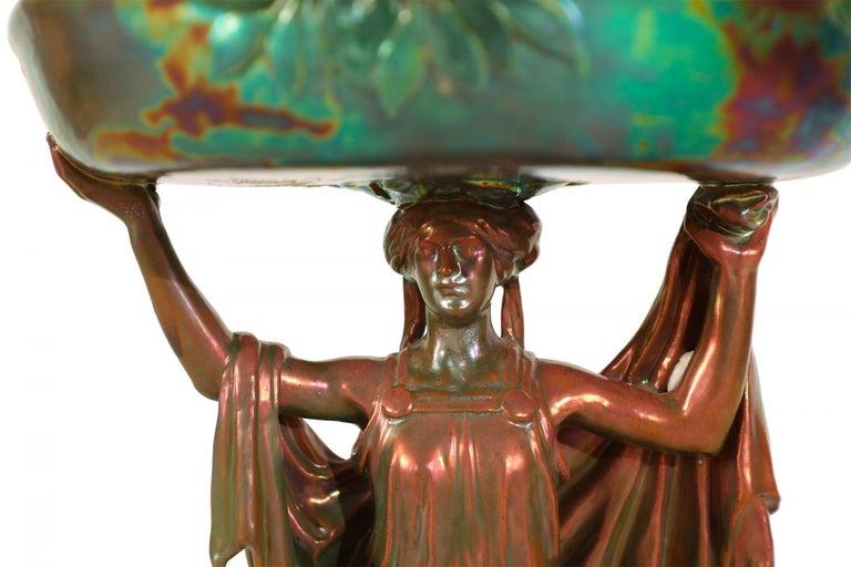 Porcelain Zsolnay Art Nouveau Figural Compote Centrepiece For Sale