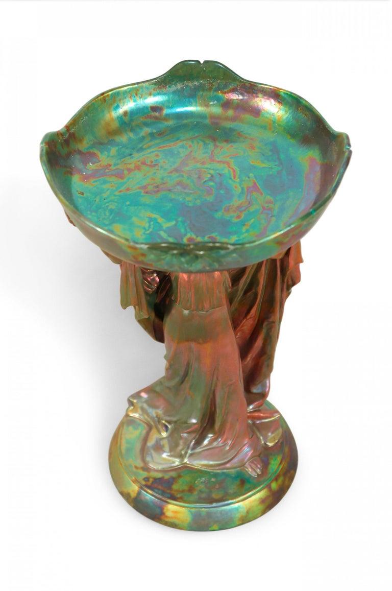 Zsolnay Art Nouveau Figural Compote Centrepiece For Sale 1