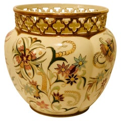 Zsolnay Jardiniere with Reticulated Top and Wonderful Colorful Decoration