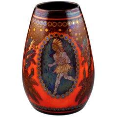 Zsolnay Pecs Raised Mark Art Pottery Eosin Glaze Vase with American Indian