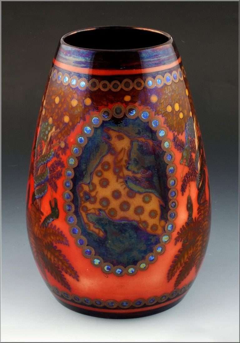 Zsolnay Pecs Raised Mark Art Pottery Eosin Glaze Vase with