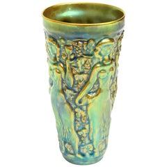 Zsolnay Glazed Ceramic Vase or Vessel Vintage