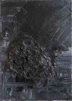 Untitled 01 - 21st Century, Abstract Painting, Black, Monochrome, Organic