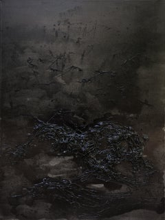 Untitled 02 - Black, Monochrome, Abstract Painting, Contemporary, Organic