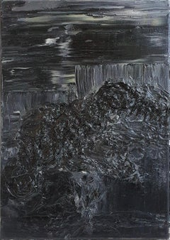 Untitled 04 - Contemporary, Black, Abstract Painting, Gray, Organic
