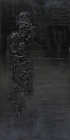 Untitled 3 - Contemporary, Monochrome, Black, Human, Abstract Painting, Organic