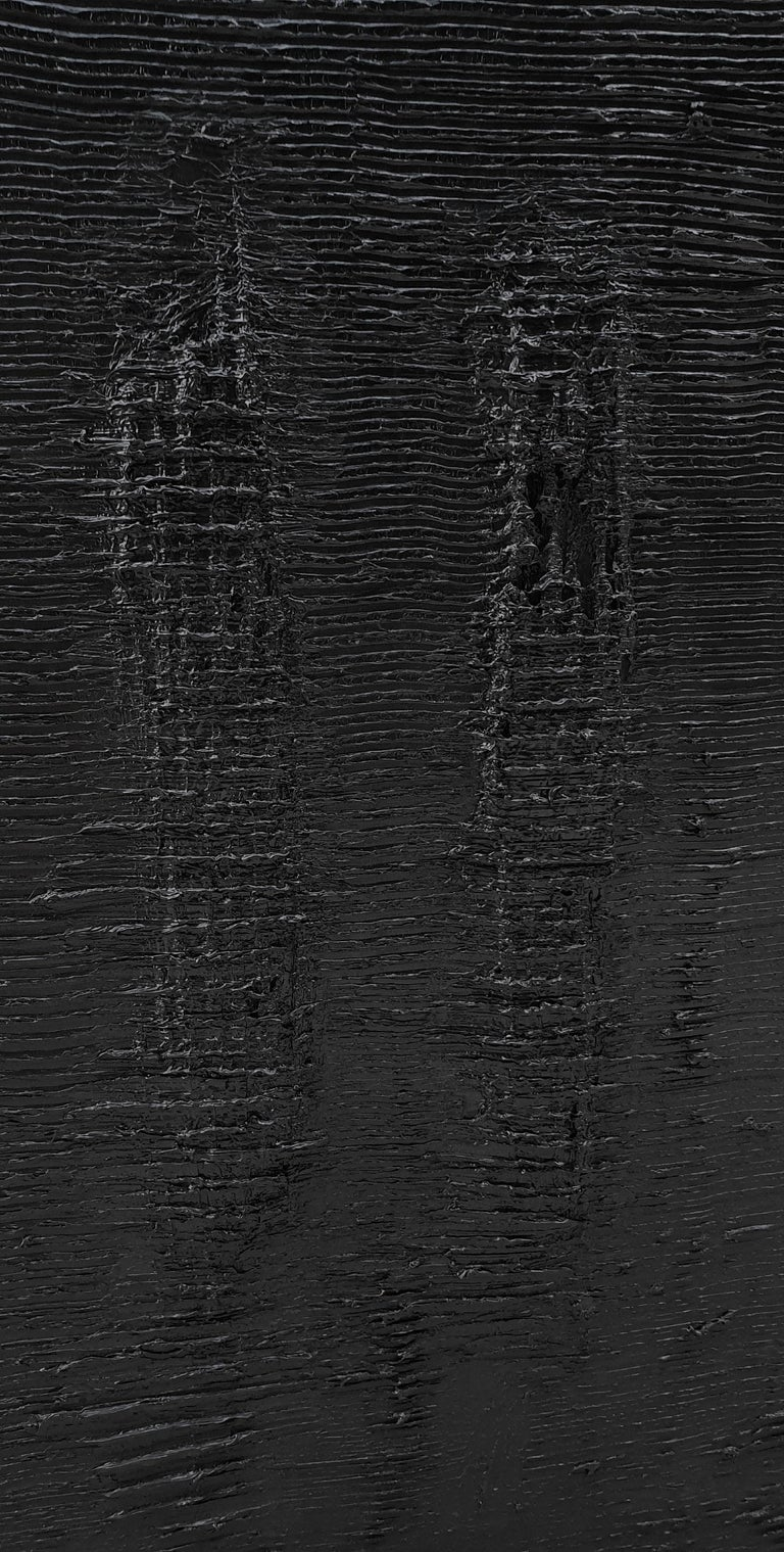 Untitled 4 - Contemporary, Black, Monochrome, Abstract Painting, Organic, Life For Sale 5