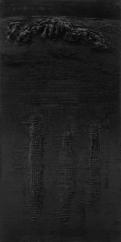 Untitled 4 - Contemporary, Black, Monochrome, Abstract Painting, Organic, Life