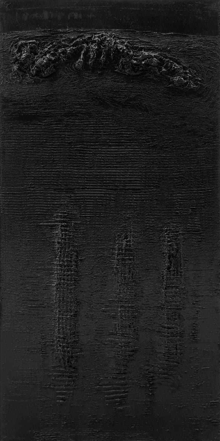 """Untitled 4 (ABlackJECTION 4), 2012 Oil on canvas (signed on reverse) 78.74 H x 39.37  W in. 200 H x 100 W cm   The notion of """"abjection"""", which at the beginnings referred to the idea of spirit degradation, it's evilness and indignity would be"""