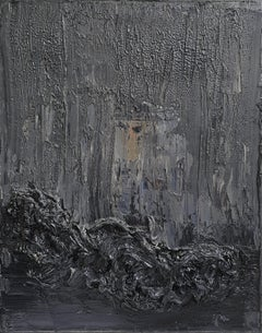 Untitled - Contemporary, Abstract, Black, Dark Gray, Monochrome, Organic