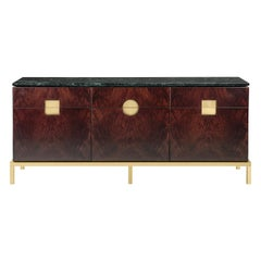 Zuan Dining Cabinet in Satin Brass Legs with Mahogany Wood by Paolo Rizzatto