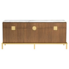 Zuan Dining Cabinet with Satin Brass Legs & Calacatta Marble by Paolo Rizzatto