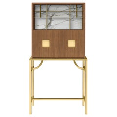 Zuan Large Cabinet with Satin Brass Legs & Calacatta Marble by Paolo Rizzatto