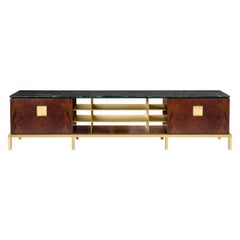 Zuan Living Cabinet in Satin Brass Legs with Mahogany Wood by Paolo Rizzatto