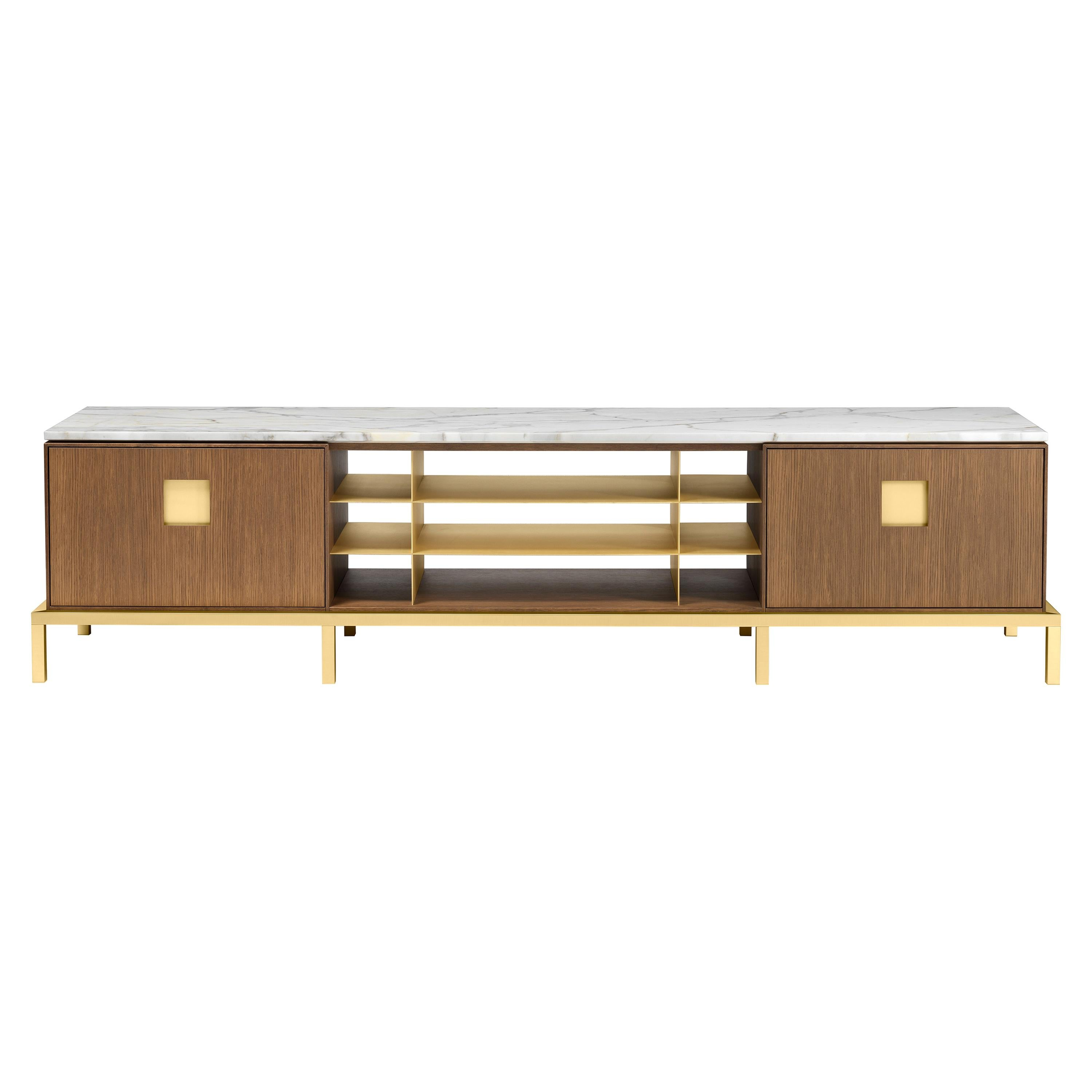 Zuan Living Cabinet with Satin Brass Legs & Calacatta Marble by Paolo Rizzatto