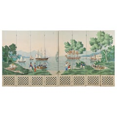 Zuber and Cie Eight Panel Wallpaper Harbor Scene