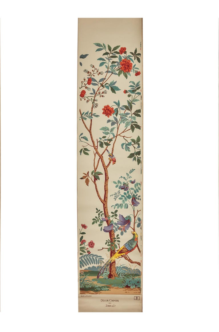 Zuber, 'Decor Chinois' Hand Wood Block Scenic Wall Paper Red Line Color Way For Sale 4