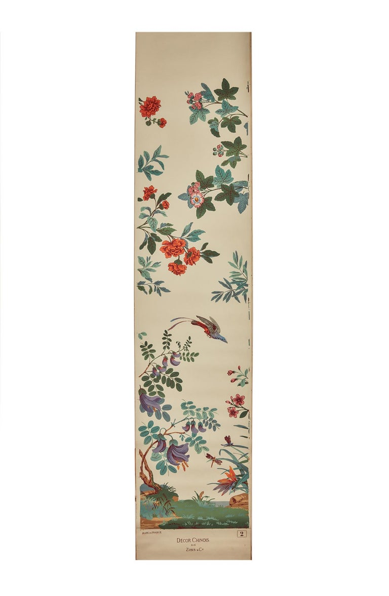 Zuber, 'Decor Chinois' Hand Wood Block Scenic Wall Paper Red Line Color Way For Sale 5